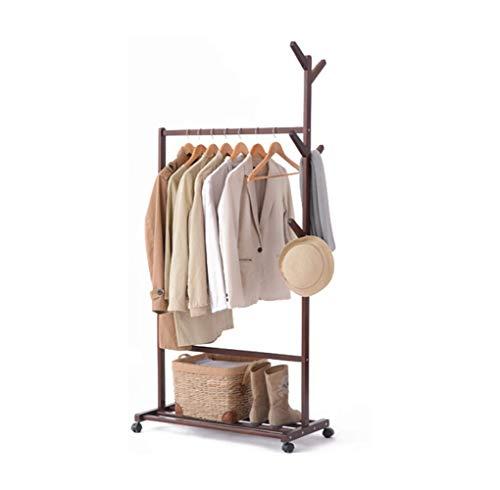 FU.YING Porte-manteaux Porte-manteau solide plancher en bois cintre arbre forme minimaliste pendaison accrochant le support de vêtements (Couleur : NOIR)