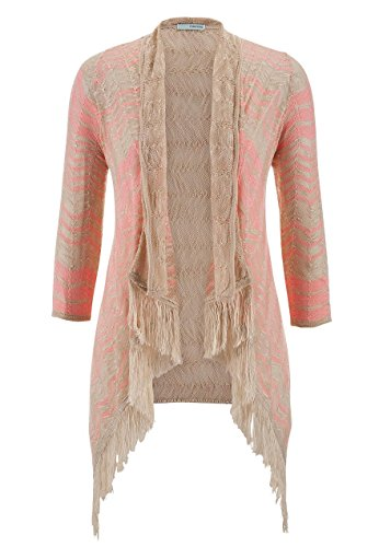 maurices Womens Chevron Print Cardigan with Fringe (Small, Neon Pink)
