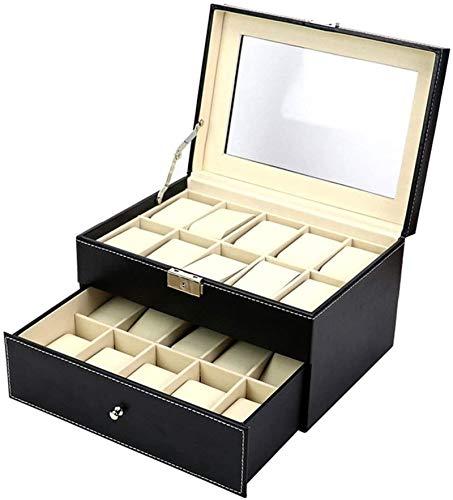 Multifunctional Reloj Caja de almacenamiento PU Cuero Doble cajón puede almacenar 20 cajas de relojes Caja de joyería Caja de almacenamiento Caja de visualización (Color: Negro, Tamaño: Un tamaño)