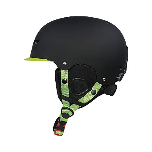 CHENGGUOFENG Casco de esquí Ajustable for niños Casco de Snowboard Protector Ultraligero for Adultos Cascos Deportivos de Patinaje (Color : Negro, Size : L)