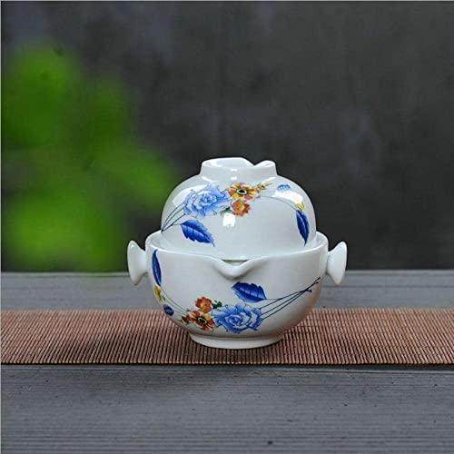 Vastate Conjuntos de tetera de porcelana Kung Fu Cerámica Setelegant Gaiwan Hermosa y fácil tetera de tetera (Color : Kaki)