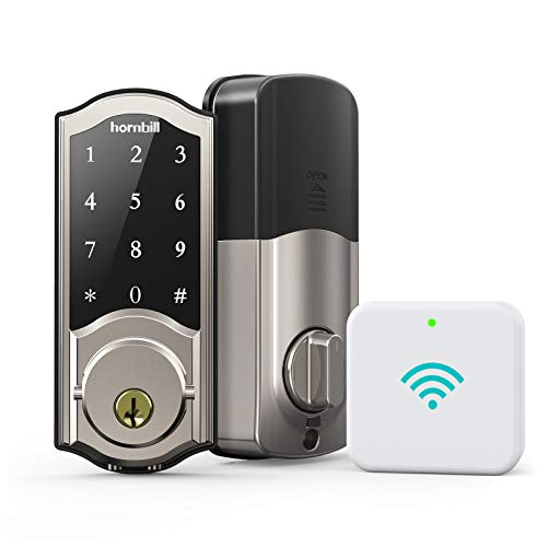 Smart Deadbolt Locks with Keypad - Keyless Entry Digital Front Door Lock with Wi-Fi Bridge, Bluetooth Electronic Auto Lock Work with Alexa, App Control for Homes, Offices and Apartments, Silver