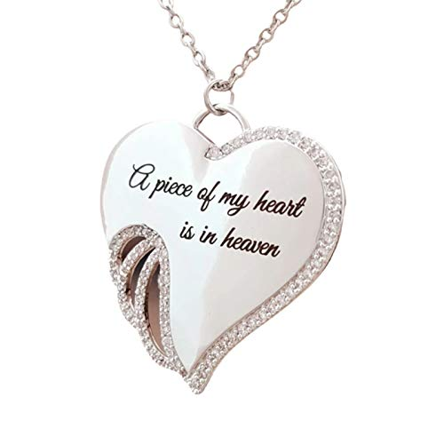 LovePlz Necklace Chain for Women and Girls Angel Wing Rhinestones Inlaid Letters Pendant Hollow Necklace Jewelry Silver