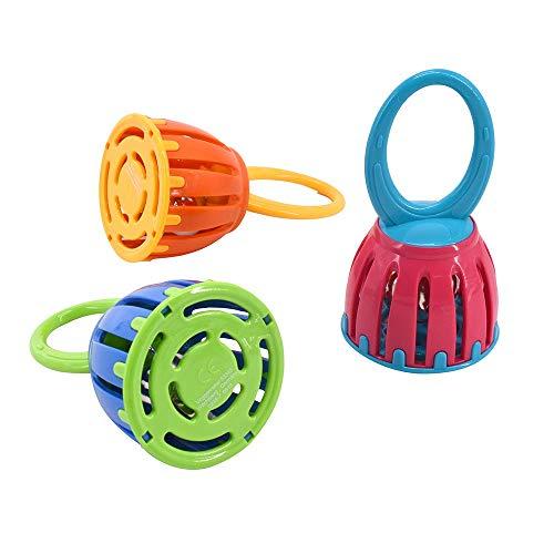Musik für Kleine 938 Baby Glöckchen Klangspielzeug Glöckchenspiel Greifling Instrument für Mädchen und Jungen (12 cm, unbedenklicher Kunststoff, 1 Stück), bunt