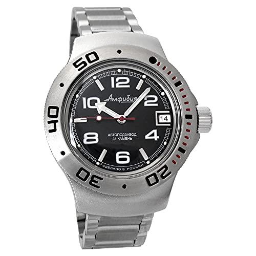 Vostok 060433de anfibios/2416b Militar Ruso Buceo Reloj 200M Buceo Auto Negro