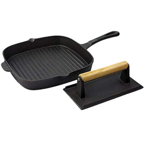 Cast Iron Pot Teppanyaki/Home Plate Cast Iron Steak Koekenpan Flat Pan Fried bakplaat Non-stick braadpan Bakken Pan + vlees plaat ZHW345