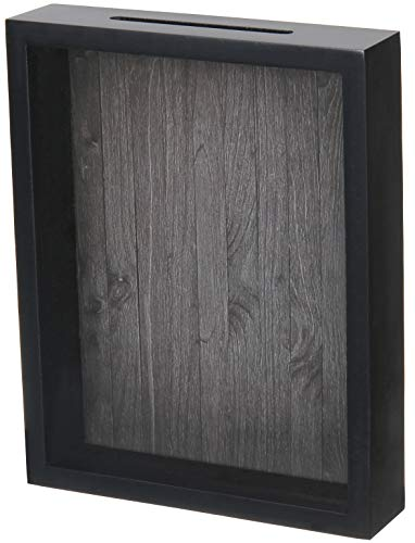 Shadow Box Display Case - Top Loading Black Wood Frame - Showcase Bottle Caps, Shells, Ticket Stubs, Airline Tickets, and More (Charcoal)