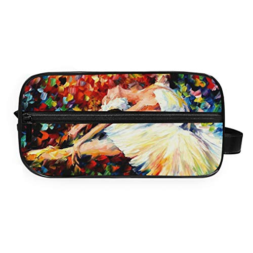 Montoj - Neceser para artículos de tocador, bolsa de cosméticos, bolsa de ballet, bailarina colorida, bolsa de maquillaje, bolsa de lavado para viajes y hogar