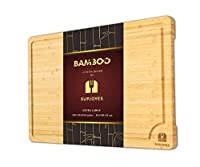 SUPJOYES 大型竹製まな板 キッチン用 オーガニック竹材まな板 グリップハンドルとジュース溝付き 18 x 12インチ