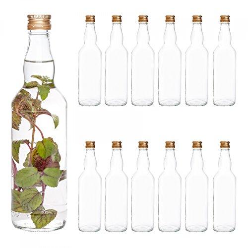 Van Well 40er Set glazen flessen met schroefsluiting Venezia | vulbare fles 0,5 l voor likeur, jenever & bier