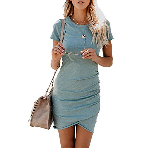 UPhitnis Women's 2020 Casual Crew Neck Ruched Stretchy Bodycon Dresses T Shirt Short Mini Dress Casual Beach Dress Blue