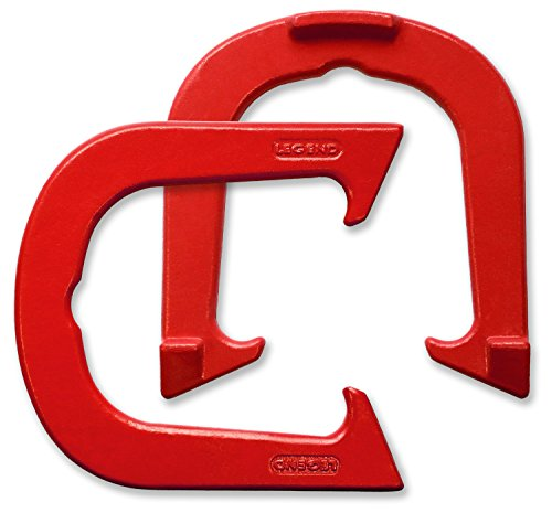 Legend Professional Pitching Horseshoes - Red Finish - NHPA Sanctioned for Tournament Play - Drop Forged Construction - One Pair (2 Shoes) - Medium Weight