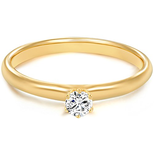 Tresor 1934 Damen-Ring/Verlobungsring/Solitärring Sterling Silber gelbvergoldet Zirkonia weiß 60451010