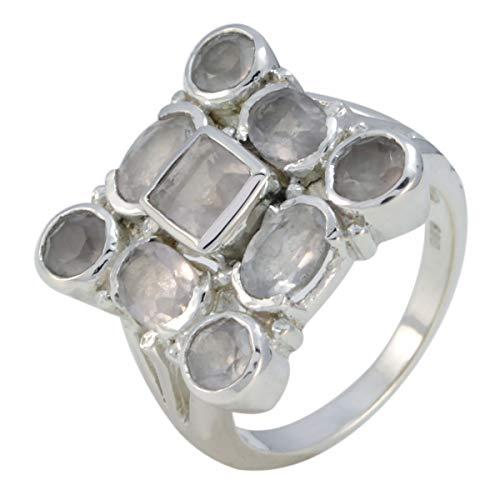 joyas plata buenas gemas anillo de cuarzo rosa facetado de múltiples formas de...