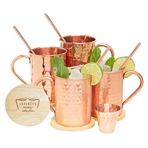 Advanced Mixology Moscow Mule Copper Mugs Gift Set - 100% Pure Copper, 16 Ounce Set of 4 Stylish Designed Mugs with 4 Artisan Hand Crafted Wooden Coasters