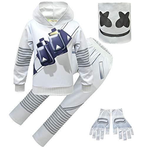 DJ Music Set with Headgear Hoodies Sweater Halloween Party Cosplay Dress Up Costume for Kids Boys Girls (Set with Helmet Glove 120)