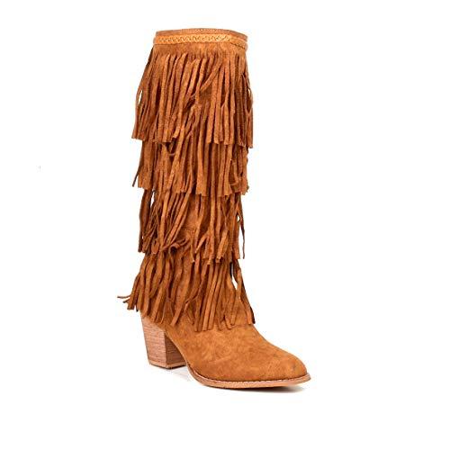 HERIXO Damen Schuhe Stiefel Fransen Indianer Blockabsatz Wildlederimitat Ibiza-Look Western(40 EU,Camel)