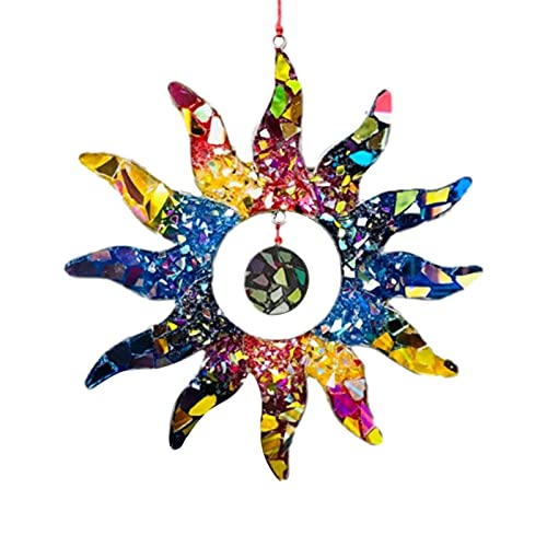 crazerop Forma de sol, arco iris, decoración para ventana, colgante con prisma, colgante decorativo, carillón de viento para casa, ventana, jardín (21 cm)