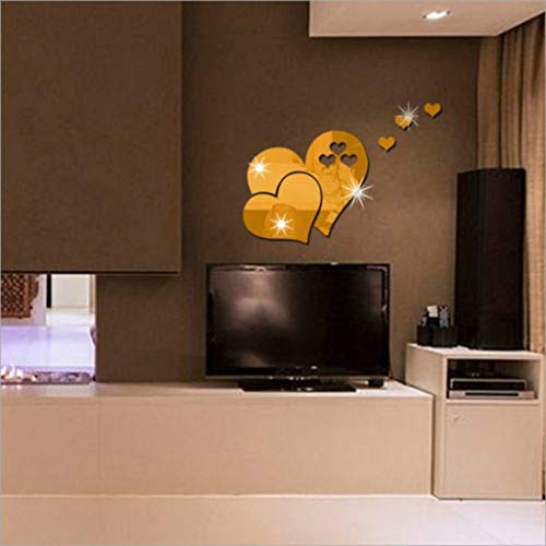 3D Miroir Stickers Murale Acrylique Autocollant Mural Stickers Muraux Décoration DIY Salon Chambre Salle De Bain Cuisine Miroir Coeur Autocollant Peinture Miroir Art Sticker Mural Maison WINJIN