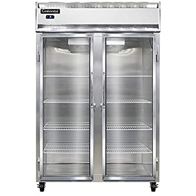 Continental Refrigerator 2F-SS-GD Two Section Reach in Glass Door Freezer, Full Stainless