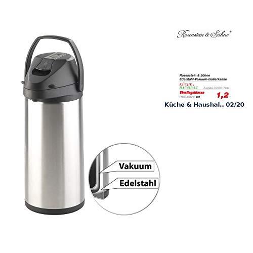 Rosenstein & Söhne Thermokannen: Doppelwandige Vakuum-Isolierkanne mit Pumpsystem, Edelstahl, 5 Liter (Edelstahl-Pump-Vakuum-Isolierkanne)
