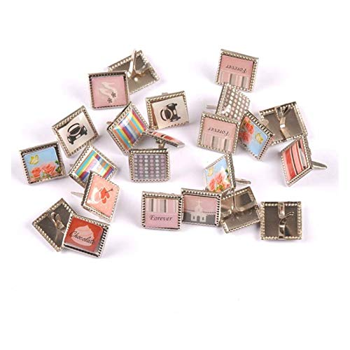 WEIGENG 20 piezas de patrones mixtos cuadrados Brads Scrapbooking Artesanía Adornos Brad Accesorios Decoración del Hogar 15x15mm