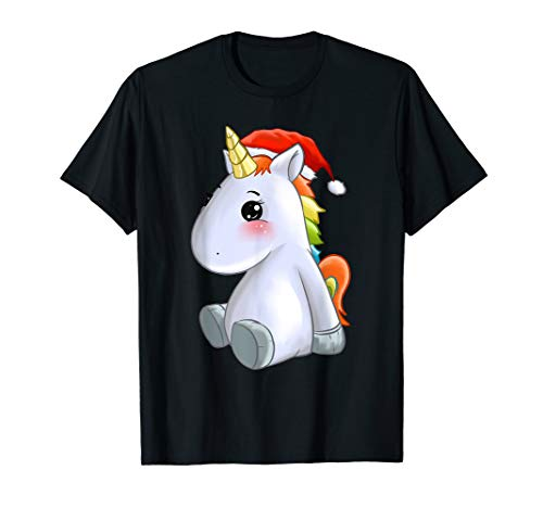 Damen Weihnachts Einhorn mit Weihnachtsmütze Sachen Einhorn T-Shirt