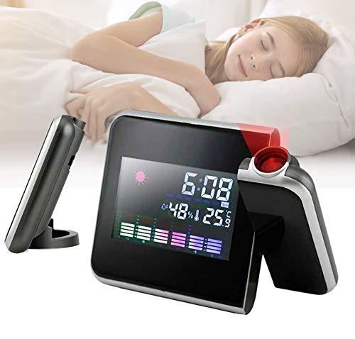 Digitaler LED-Projektionswecker - mit USB-Ladeanschluss, Decke für Projektionsuhren, Wechselstrom und Batteriebetrieb, mit Zeit- / Kalender- / Wecker- / Thermometer- / Licht- / Wettervorhersage