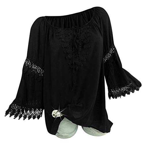 Purchase Lovor Women's Tops Boho Plus Size Casual Loose Lace Splice Flare Sleeve Blouse T-Shirt Pull...