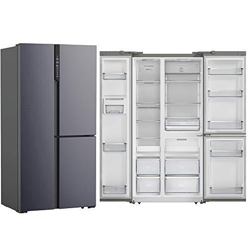 SCHNEIDER SBS552.3TAT Stand Kühlschrank anthrazit HxB: 183x92cm A++ No Frost Side-by-Side Kühl-Gefrierkombination