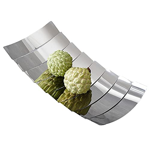 Fruit Bowl Creative Stainless Steel Tile Shape Safe Storage Basket Large Capacity Fruit And Vegetable Tray Solid Decorative Basket For Living Room Used For Kitchen,party