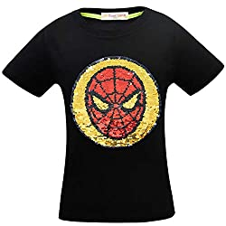 1syzuh Superhero Flash Flip Sequin T-Shirt