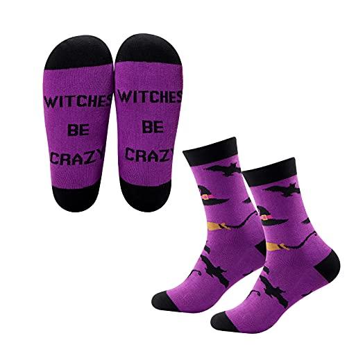 MYSOMY Calcetines de bruja con brujas y texto en inglés