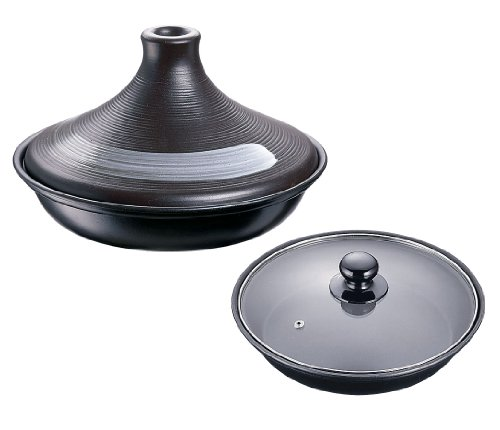 イシガキ産業ブローディアIHタジン鍋(ガラス蓋付)19㎝茶3008耐熱陶器/蓋強化ガラス中国ATZ0301