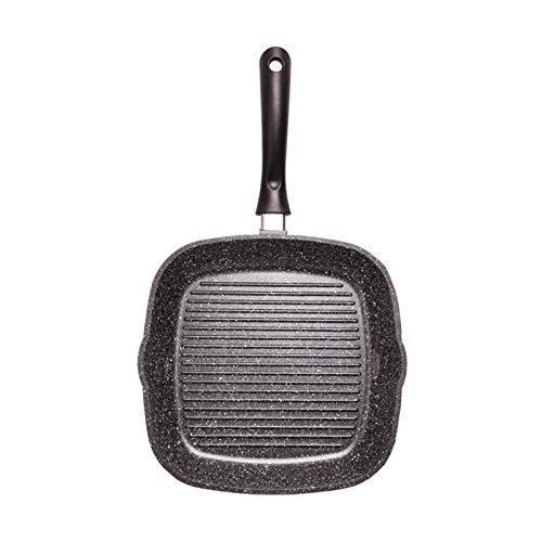 CHENSHJI Pan antiadhésives Frying Pan Steak Poisson et Barbecue Griddle Pan avec Easy Grease Drainante Plaque chauffante pré-assaisonnée (Couleur : Black, Size : 24cm)