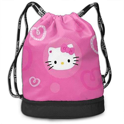 XCNGG Mochila con cordón Elegante Pink Kitty Ligero Mochila Sport Gym Bundle Mochila
