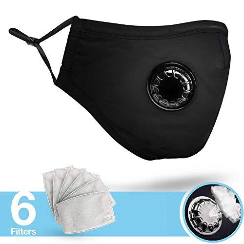 AimdonR mascarilla PM 2.5máscara Protección filtración Carbón Activo máscara Boca Reutilizable disuasorias de la contaminación con 6filtros de Repuesto para Bicicleta de Bicicleta, Negro