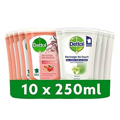 DETTOL Recharge No-Touch Savon Liquide Mains - Action Nettoyante - 10 Recharges 250ml (Aloe Vera et Pamplemousse)