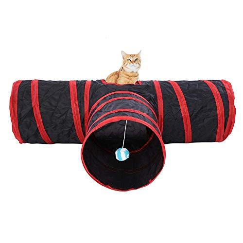 猫3通 トンネル キャットトンネル ペット玩具 猫遊び 折りたたみ式 猫 小型犬 うさぎなど適用(レッド)