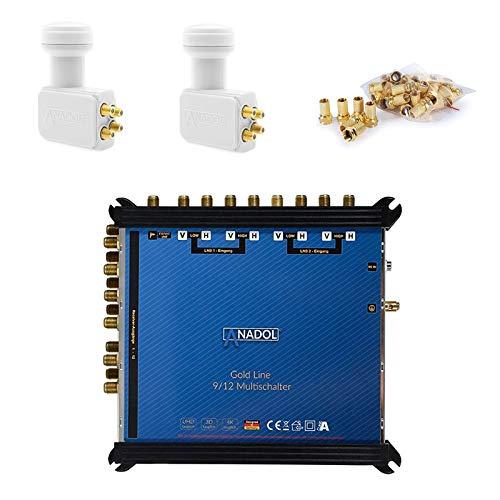 LNB + MULTISCHALTER Set: Anadol Gold Line 9/12 Multischalter [ Test SEHR GUT ] für 2 Satelliten und 12 Ausgänge/Receiver + 2X Anadol Quattro LNB [ Test 2X SEHR GUT ] - 37 F-Stecker