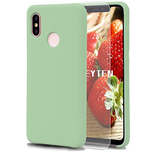 Feyten Coque Xiaomi Mi 8 [avec Verre Trempé], Silicone Liquide Housse Case Anti-Choc Anti-Rayures Protection Complète Cover Étui avec Tissu Microfibre Coussin Coveri (Vert Clair)
