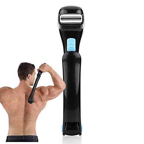 Afeitadora eléctrica para el cuerpo, con mango largo, 14.7 pulgadas, ajustable, inalámbrica, plegable, cortadora de cabello, herramienta de depilación para hombres con accesorio para la espalda