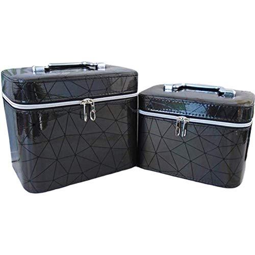 JLYLY Sac Cosmétique Femelle Portable De Grande Capacité Bagage À Main WC Stockage De Cas Cosmétique,Noir,S+L