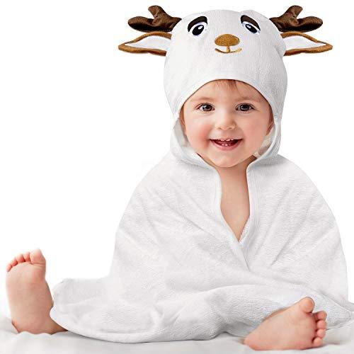 Kaome Toalla de baño con capucha de bambú orgánico de 0 a 5 años, toalla con capucha para bebé, grande, suave y superabsorbente, con bonitas orejas para el baño del bebé