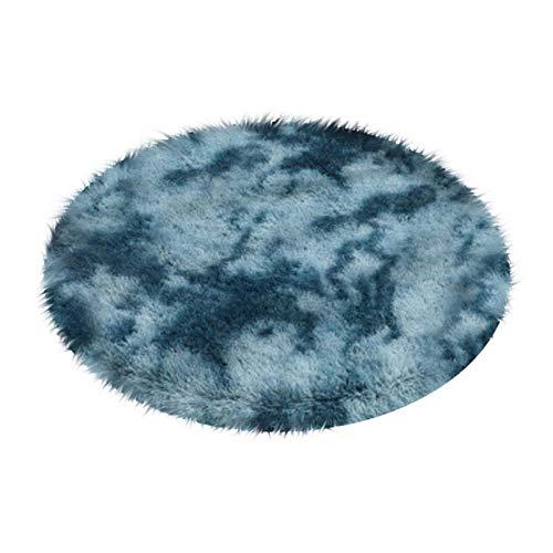 ZL Multicolor Rug Fluffy Shag Round Area Rug Plush Carpet For Kids Girls Living Room Bedroom Decor-120x120cm__Blue