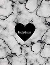 "Composition Notebook: Cracked White & Black Marble & Black Heart: Lined Journal For A Personal Diary For Womens And Men 8.5"" x 11"" inch 150 pages ,Soft & matte cover"