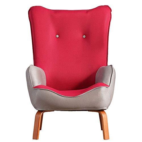 Office Life Easy Padded Floor Chair Moderner Stuhl geknöpfter Leinenstoff Wannenstuhl Sessel Schlafzimmer Wohnzimmer Office Floor Chair Verstellbarer Rückenlehnenstuhl (Farbe: Rot, Größe: 586092cm)