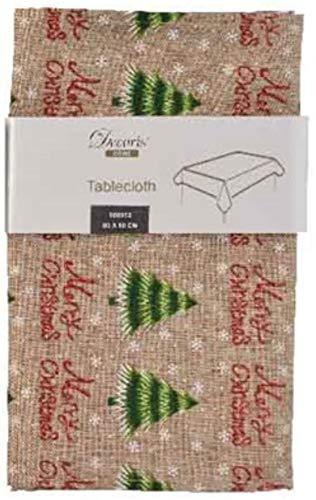 KAE - Mantel rústico Estilo nórdico para Mesa de Comedor de Navidad con Detalles de Purpurina roja, Mantel/Camino de Mesa, diseño de árbol de Pino o Bayas de Invierno