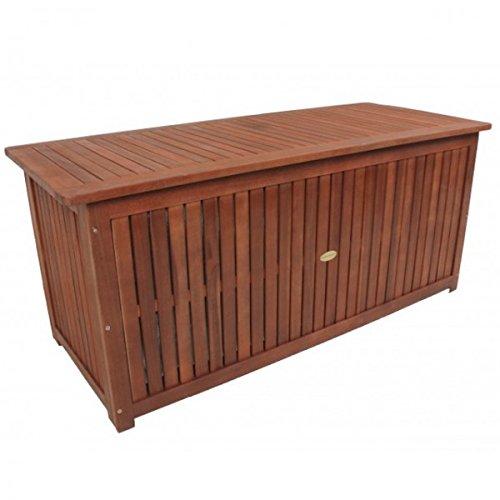 Massive Auflagenbox Plano Holz mit Innentasche Eukalyptus Kissenbox Gartenbox Aufbewahrung