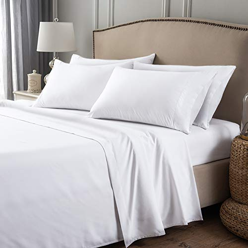 Hedoras 6 Piece Sheet Set - Hotel Luxury Bed Sheet Sets - Extra Soft - Deep Pocket 16'- Easy Fit - Breathable & Comfy Sheet - Wrinkle Free -White Queen Set